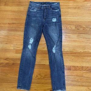 Zara distressed straight leg skinny jean